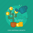 currencies, saving, finance, business, money, concept, euro watering growth