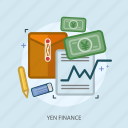 business, concept, currencies, finance, money, paper, yen finance icon