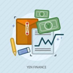 business, concept, currencies, finance, money, paper, yen finance icon