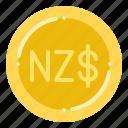 currency, dollar, exchange, money, new, zealand icon