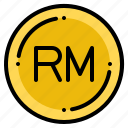 currency, exchange, malaysia, money, ringgit icon