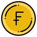 currency, exchange, franc, money, swiss icon