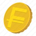 cartoon, coin, currency, finance, franc, gold, switzerland icon