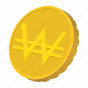 cartoon, coin, currency, finance, gold, south, won icon