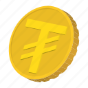 cartoon, coin, currency, finance, gold, mongolia, tugrik icon