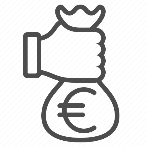 bribe, donation, euro, fist, hand, money bag, payment icon