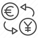 conversion, currency, euro, exchange rate, yen, yuan icon