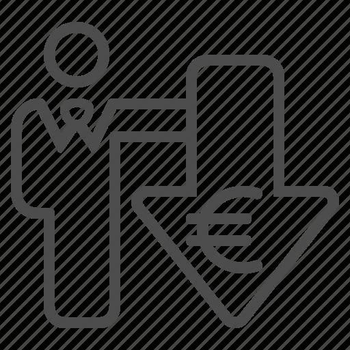 arrow, businessman, euro, investment, man icon