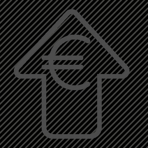 arrow, euro, exchange rate, investment, transaction icon