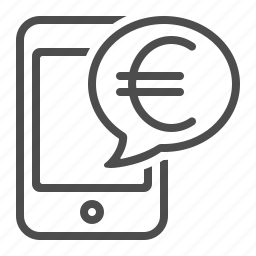 euro, instant message, mobile banking, mobile phone, online banking, smartphone icon