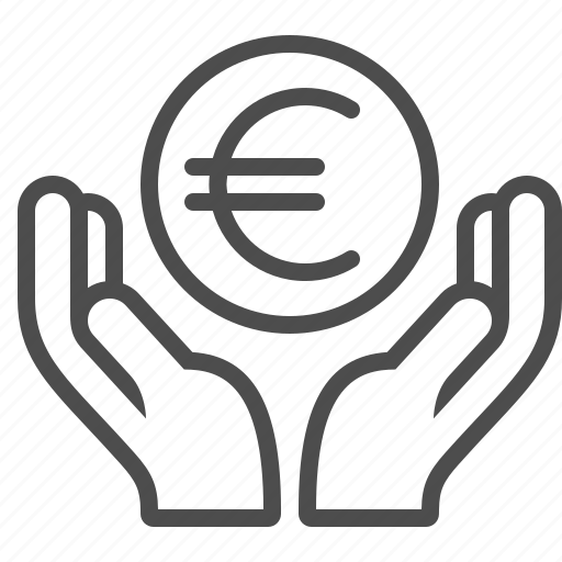 coin, currency, donation, euro, hands, loan icon