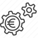 cogs, economy, euro, gears, sprockets icon