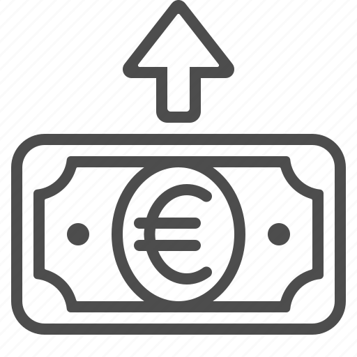 arrow, banknote, bill, cash, euro, payment, transaction icon