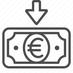 arrow, banknote, bill, cash, euro, transaction icon