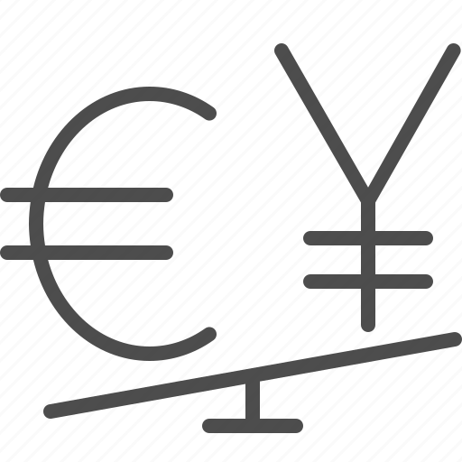 conversion, currency, euro, exchange rate, seesaw, yen, yuan icon
