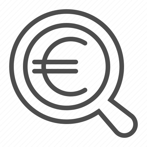 currency, euro, find, magnifier, magnifying glass, search icon