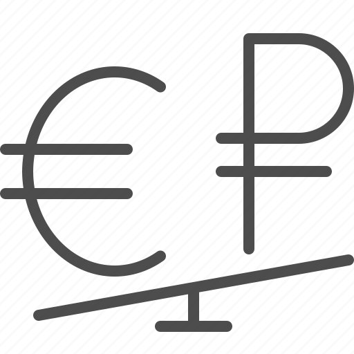 conversion, currency, euro, exchange rate, rouble, ruble, seesaw icon