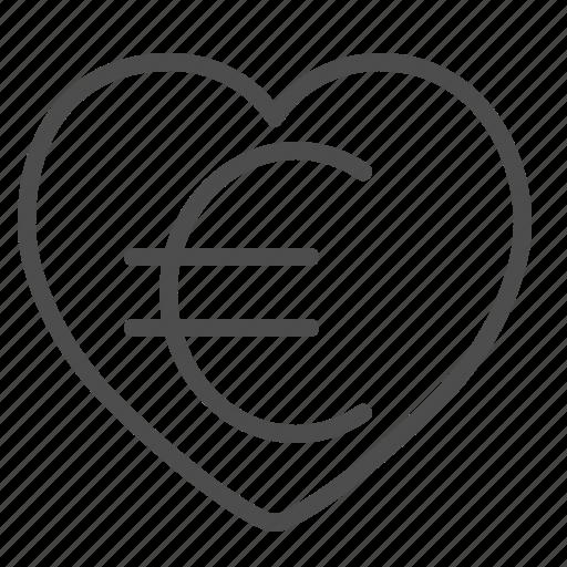 euro, finance, heart, love icon