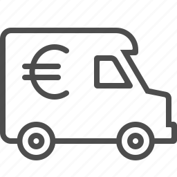 armored truck, euro, finance, van, vehicle icon
