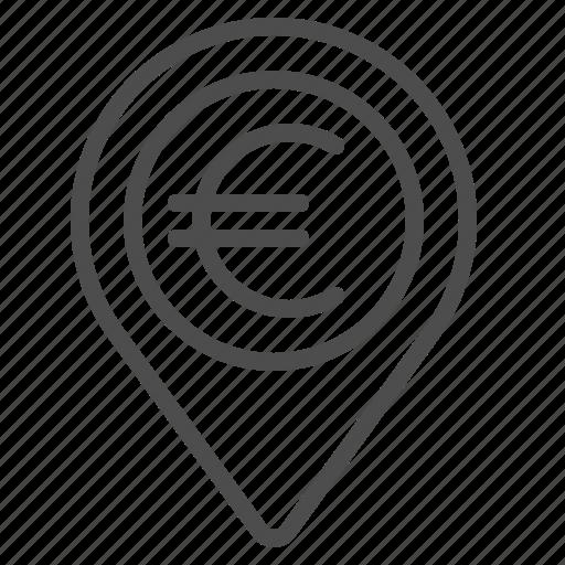 destination, euro, finance, location, marker icon