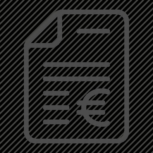 bill, contract, document, euro, file, invoice, tax form icon