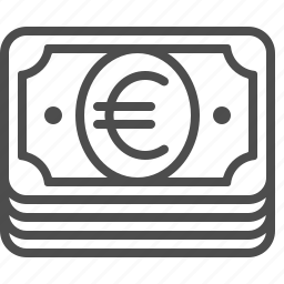 banknote, bill, cash, euro, money, stacked icon