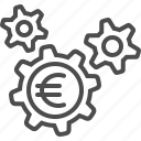 cogs, economy, euro, finance, gears, sprockets icon
