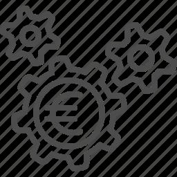 cogs, economy, euro, finance, gears, sprockets icon