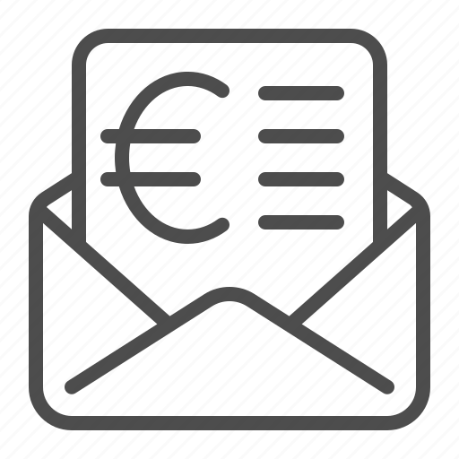 bill, envelope, euro, invoice, letter, taxes icon