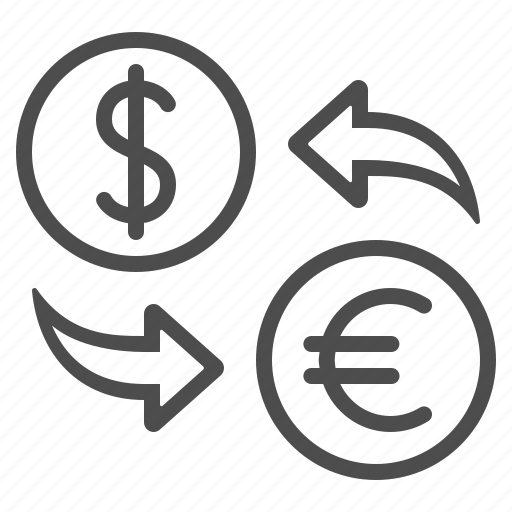 conversion, currency, dollar, euro, exchange rate, money icon