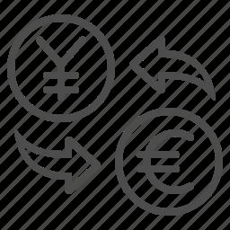 conversion, currency, euro, exchange rate, money, yen, yuan icon