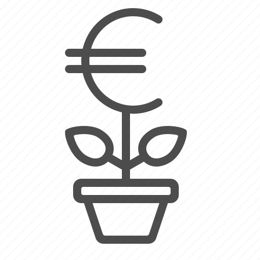 business, euro, flower pot, investment, potted plant, start-up, startup icon