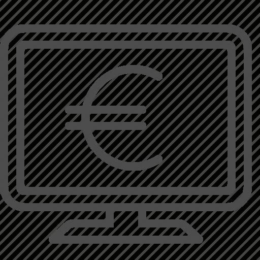 computer, euro, internet banking, monitor, online banking, screen icon