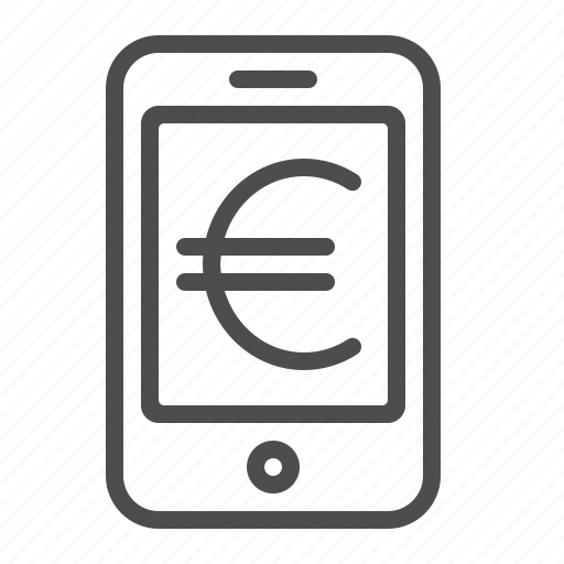euro, mobile banking, mobile telephone, online banking, smartphone icon
