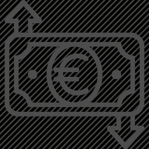 arrows, banknote, bill, euro, exchange rate, money, transaction icon