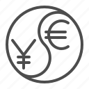 conversion, currency, euro, exchange rate, yen, yin yang, yuan icon