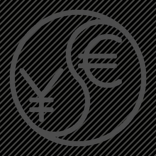 conversion, currency, euro, exchange rate, yen, yin yang, yuan icon