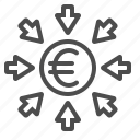 arrows, currency, euro, investment, transactions icon