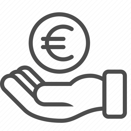 bribe, coin, donation, euro, hand, loan, money icon