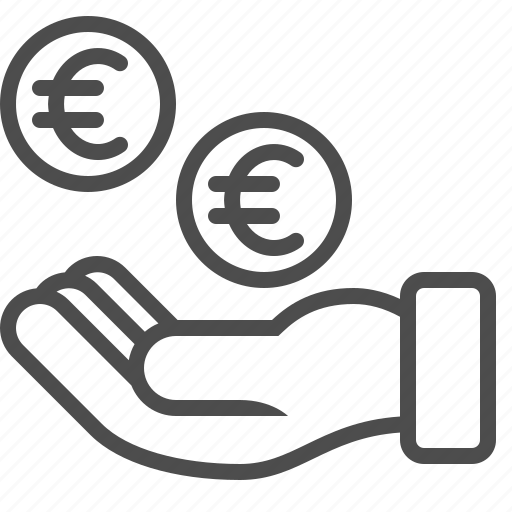 bribe, coins, donation, euro, hand, loan, money icon