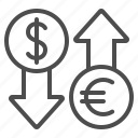 conversion, currency, dollar, euro, exchange rate icon