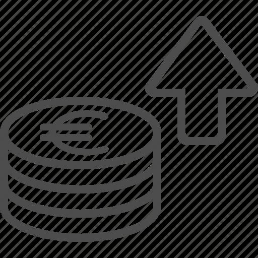 arrow, coins, euro, stacked, transaction icon