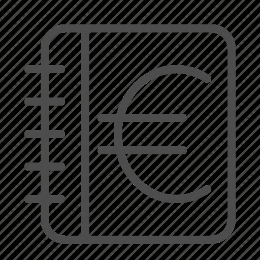 euro, finance, ledger, log, notebook icon