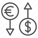 conversion, currency, dollar, euro, exchange rate, finance icon