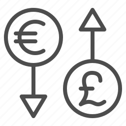 arrows, conversion, currency, euro, exchange rate, money, pound icon