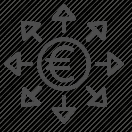arrows, euro, transaction icon