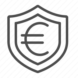 euro, insurance, investment, security, shield icon