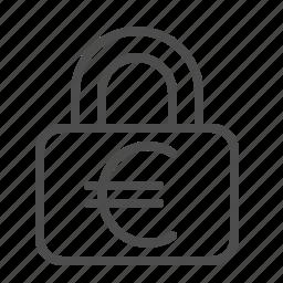 blocked, euro, lock, locked, security icon