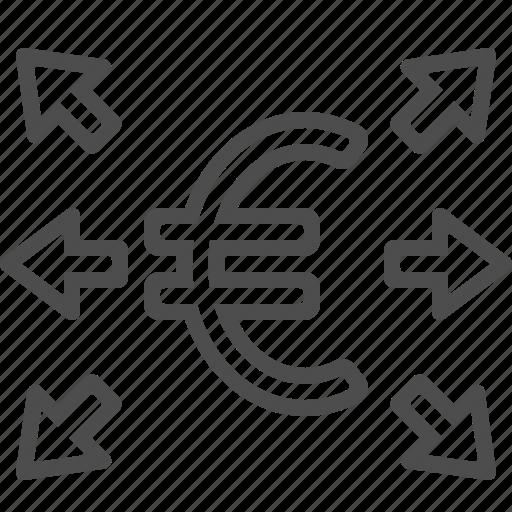 arrows, euro, transactions icon