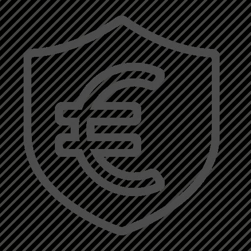 euro, finance, insurance, security, shield icon